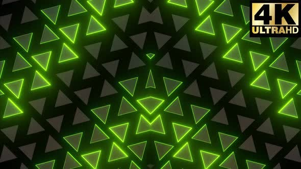 7 Neon Triangles Disco Design Pack 4k
