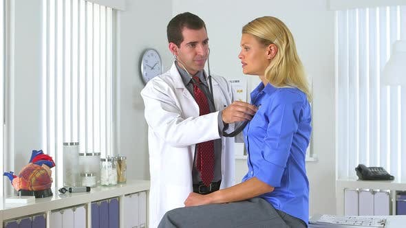 Thumbnail for Doctor listening to patient's heart