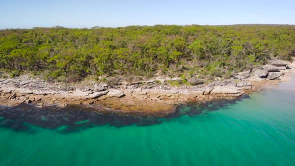 Jervis Bay in Australia. Scenic Rocky Shore and Clear Ocean Water.