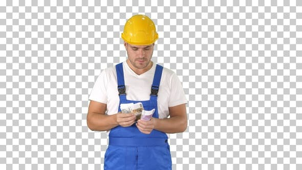 Thumbnail for Builder counting money standing, Alpha Channel
