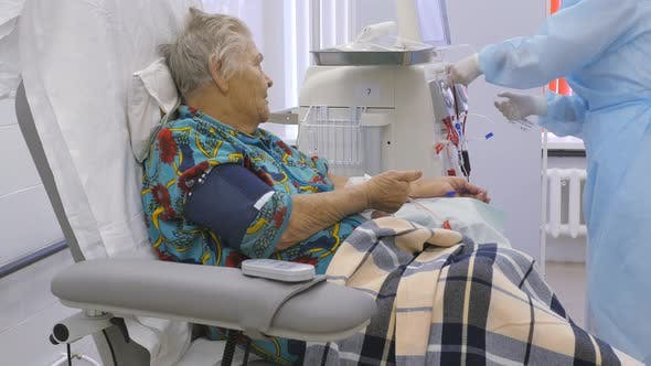 Thumbnail for Old Woman in Hemodialysis Machine