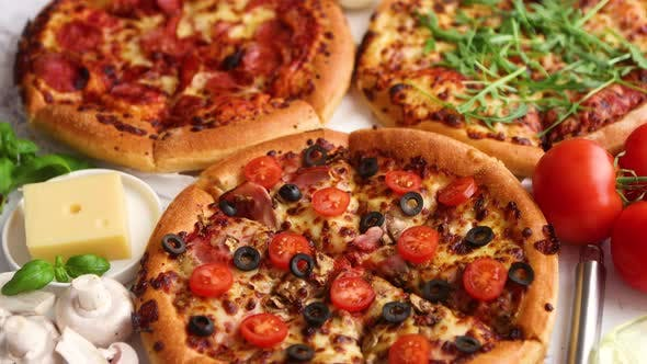 Thumbnail for Coposition of Italian or American Pizzas with Ingredients