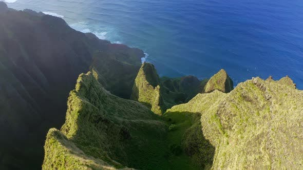 Thumbnail for Amazing Hawaiian Mountain Range Going Down To the Ocean. Scenic Aerial Footage
