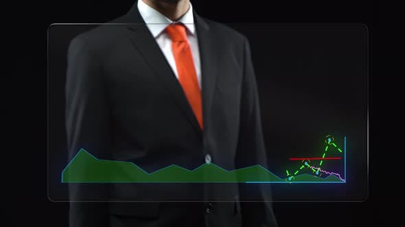 Thumbnail for Businessman Uses Holographic Interface, Drawing an Ascending Financial Chart. Touchscreen.