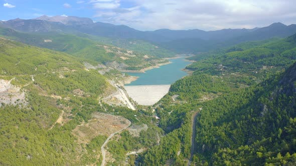 Mountain Lake and Dam View of Valley Dimcay Near of Alanya Antalya District Turkey