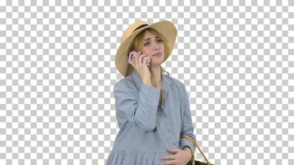 Worried Pregnant Woman Talking on the, Alpha Channel