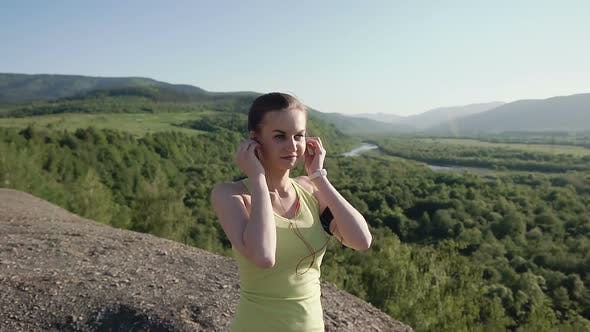 Cover Image for Runner Young Woman Running in Mountain Exercising Outdoors Fitness Tracker