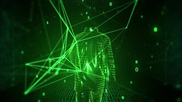 Invisible Internet User Walks On Digital Cyber Space With Network Lines And Binary Codes Using Vpn