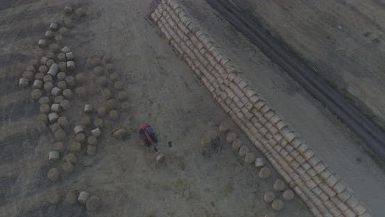 Thumbnail for Field with bales of hay seen from above