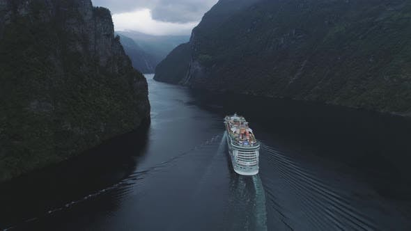 Thumbnail for Large Luxury Cruise Ship Is Going in Geiranger Fjord. Green Mountains. Norway. Aerial View