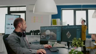 Mechanical Engineer Working on Computer Designing in CAD Software