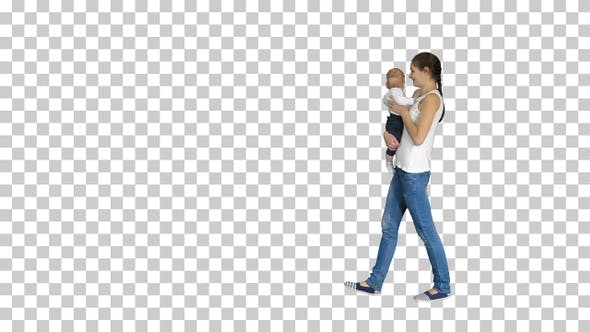 Thumbnail for Happy mother kissing adorable baby, Alpha Channel