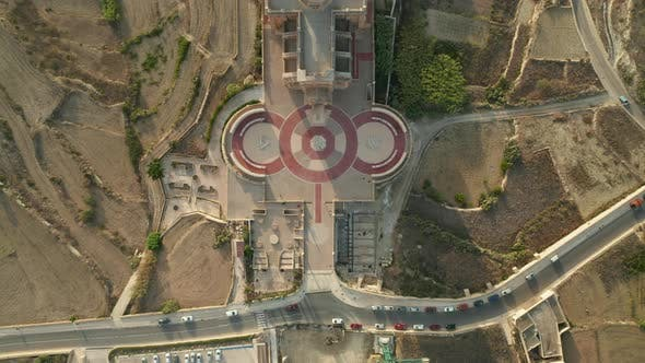 Birds Eye Overhead Top Down View of Ta Pinu Church, Famous Place on Mediterranean Island Gozo, Malta
