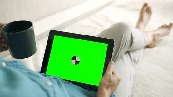 Thumbnail for Woman Holding Greenscreen Tablet