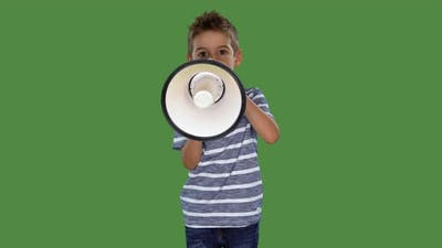 Little Boy With Megaphone on Green Screen