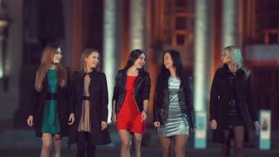 Beautiful Girlfriends Walk at Night