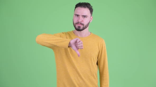 Thumbnail for Angry Young Bearded Man Giving Thumbs Down