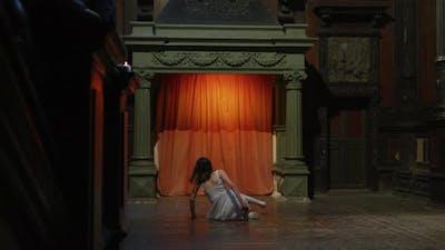 Tracking shot of a girl dancing