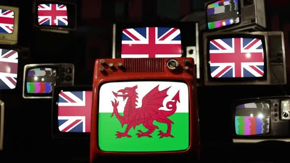 Wales Flag and UK Flag on Retro TVs.