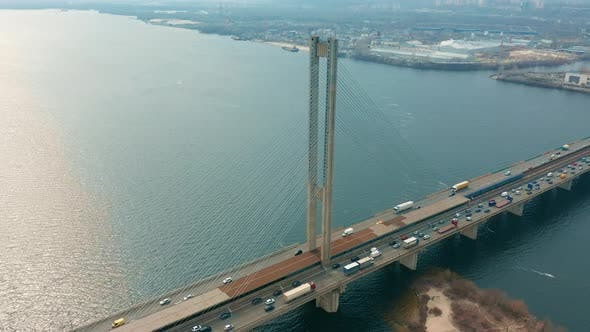 Bridge with Trafic Over the River Aerial Drone Footage