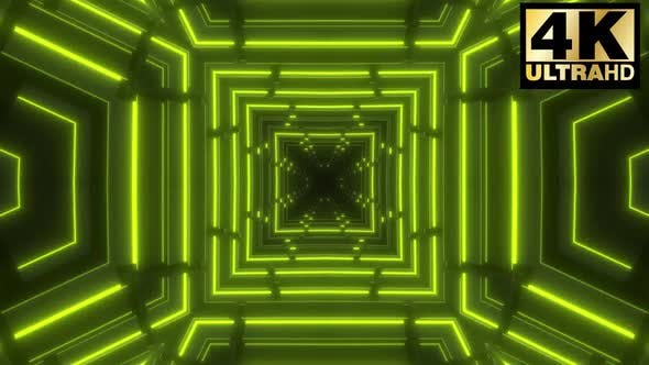 Thumbnail for Green Geometric  Neon Tunnel Vj Pack
