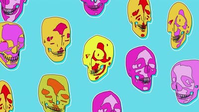 4K Abstract cartoon skulls