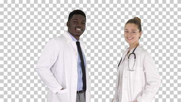 Thumbnail for Two caucasian and afro american smiling doctors standing