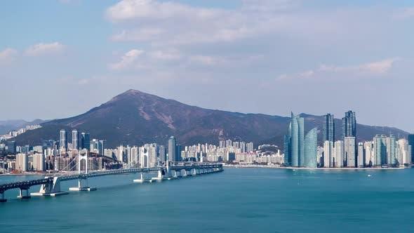 Korea Aerial Busan View of Gwangan Bridge Cityscape