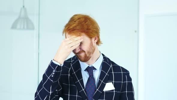 Thumbnail for Headache, Upset Tense Young Redhead Businessman