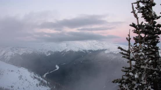 Mt Rainier Motion Time Lapse Sun Rise Morning Colors Fog Clouds Passing By Tree Foreground