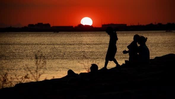 People Silhouette Near The Seaside 6