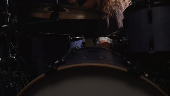 Thumbnail for Heavy metal rock band drummer, slow motion