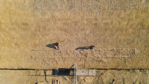 Thumbnail for Aerial View the Roof of a Large House with Dry Straw and Hay. Workers Who Install the Roof