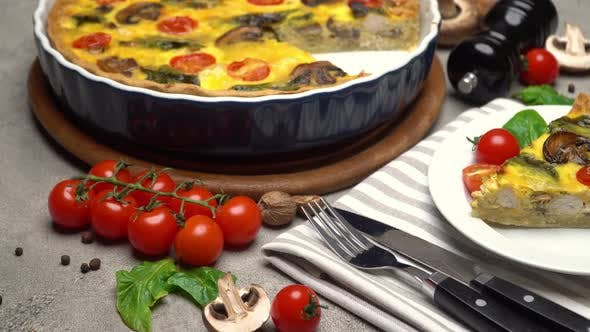 Thumbnail for Traditional French Baked Homemade Quiche Pie on Wooden Cutting Board