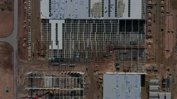 Thumbnail for Building Site of a Factory From Above, Aerial Top View Slow