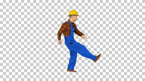 Funky Dancing by Young Construction Worker, Alpha Channel