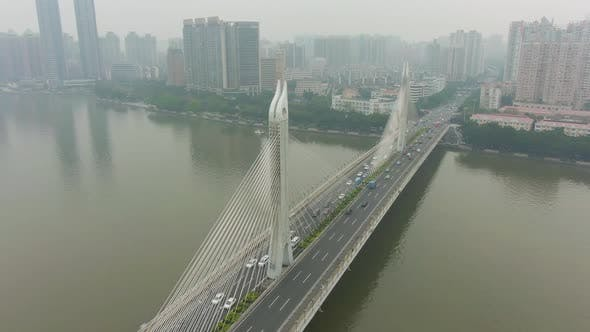 Thumbnail for Bridge in Guangzhou, Car Traffic and Cityscape. Guangdong, China. Aerial View