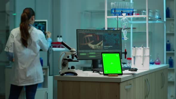 Thumbnail for Tablet with Green Chroma Key Screen Placed on Desk in Lab