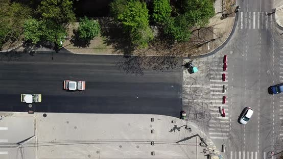 Thumbnail for Aerial Top Down View of Asphalting Construction Works with Commercial Repair Equipment Road Roller