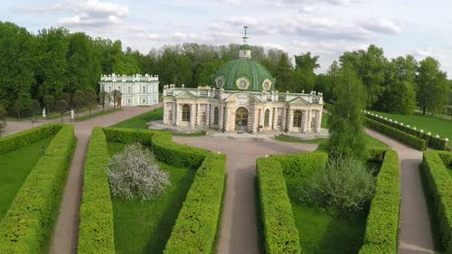 Aerial view of historic building in Tsaritsyno Park, Moscow