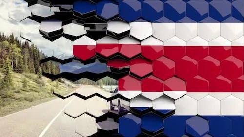 Costa Rica Flag Hexagon Transition - 4K Resolution