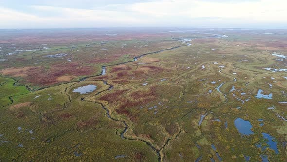 Thumbnail for Aerial view of wide wetland ecosystem near the ocean, Netherlands.