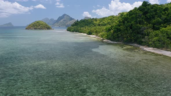 Thumbnail for Aerial View of Cas Cabanas Tropical Beach, El Nido, Palawan, Philippines. Shallow Lagoon During Low