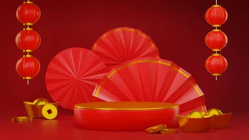 Chinese New Year Podium Product Presentation Seamless Looping 3D