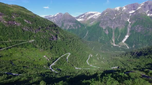 Thumbnail for Aerial view of hairpin bends in Norwegian mountain pass
