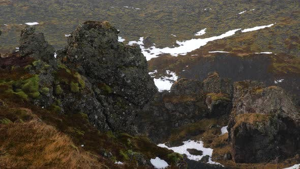 Cover Image for Iceland View Of Lava Field And Rock Formations At Djupalonssandur In Winter 7
