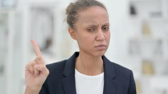 Thumbnail for Portrait of Attractive African Businesswoman Saying No By Finger
