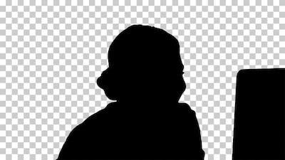 Silhouette  businesswoman cheering , Alpha Channel