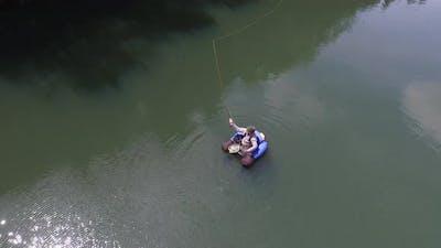 Overhead shot of fly fisherman