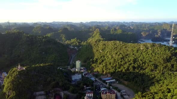 Thumbnail for Drone Moves From Town To Bright Plants at Evening Sunlight